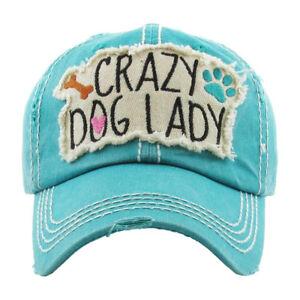 04dbb016d7d Womens Distressed Vintage Crazy Dog Lady Hat One-Size Baseball Cap ...