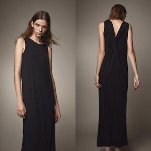 NEW-Massimo-Dutti-Black-Metallic-Twist-Back-Maxi-Dress-Size-Small-S