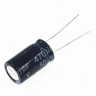 50pcs 470uf 50v 470mfd 50volt aluminum electrolytic capacitor 10mm×16mm radial