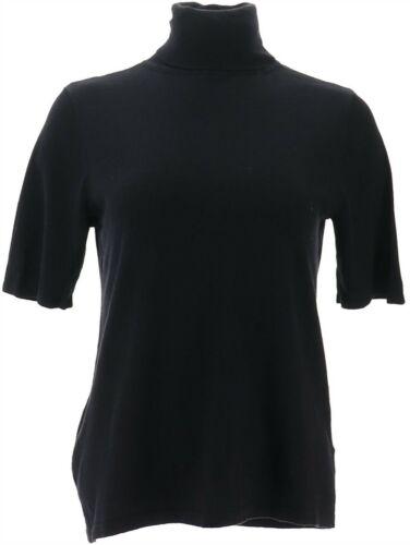 Joan Rivers Lightweight Turtleneck Sweater Elbow Slvs Black XL NEW A302708