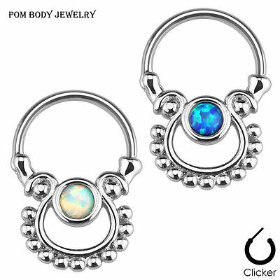 "16G 5/16"" (8 mm) Surgical Steel Single Opal Dangling Septum Clicker Ring"