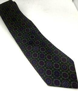 vintage harve benard green blue pure silk necktie tie