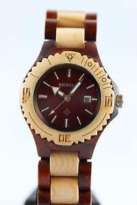 Bewell-Reloj-De-Madera-Mujer-Fecha-33mm-Sandalo-Arce-Producto-A-regalo-genial