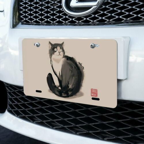 Cat Traditional Chinese Ink Painting Novelty Metal Vanity Tag License Plate