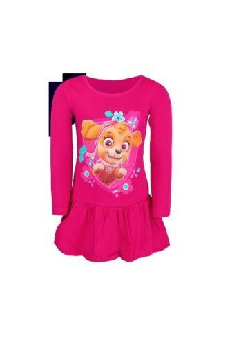 Paw Patrol Kleid langarm Kleidchen Volant Rock Mädchen Pink Blau 98-128 NEU