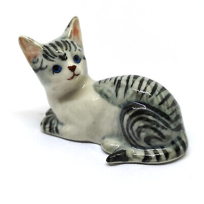 Funny Cat Figurines Collectibles Gray Ceramic Dollhouse Miniatures Animals