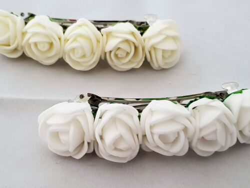 WEDDING BRIDESMAID FLOWER GIRL HAIR SLIDE  IVORY OR WHITE WITH 5 X ROSES