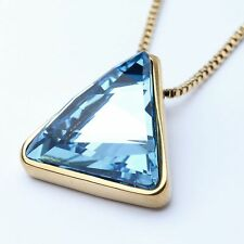 Blue Genuine Austrian Crystal Triangle Pendant Necklace 18Ct White Gold Plated