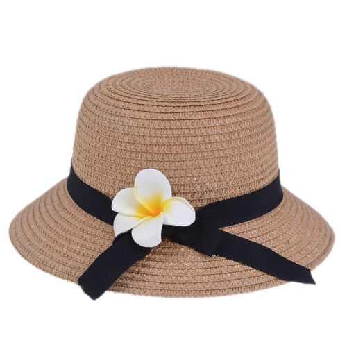 Lovely kids girls baby summer flower breathable hat straw sun hat children h Jn