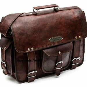 Mens-Brown-Laptop-Bag-Briefcase-Messenger-Work-Office-Shoulder-Bag-Leather-Bag