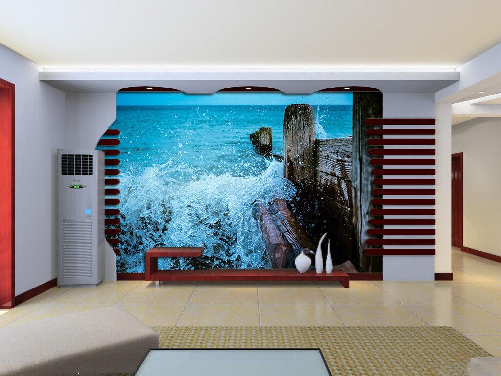 3D Sea Waves Fence 754 Wall Paper Murals Wall Print Wall Wallpaper Mural AU Kyra