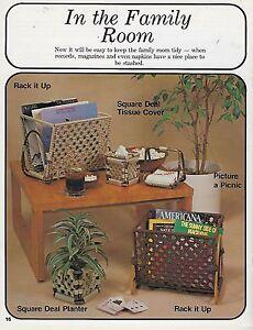 Vintage Retro Magazine Record Album Rack Pattern Macrame Necessities Book #7421