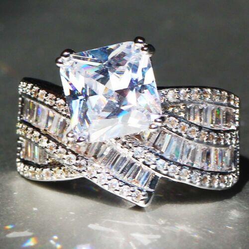 Nouveau 925 silver filled blanc Saphir Pierre de Naissance Fiançailles Anneau Mariage Cadeau