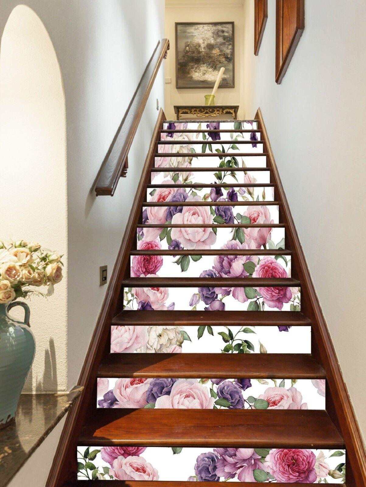 3D Fleur Rose 7 contremarches Décoration Photo Murale Autocollant Vinyle Papier Peint UK