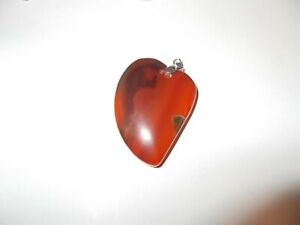 Beautiful-Polished-Heart-Agate-Healing-Stone-Pendant-amp-925-Silver-Necklace