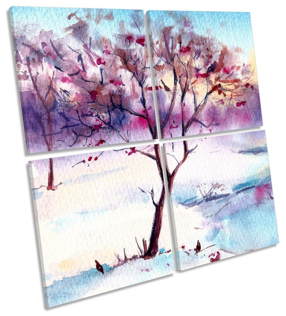 Árbol de invierno de lienzo enmarcado de múltiples Aves impresión de nieve Aves múltiples Arte Cuadrado 884787