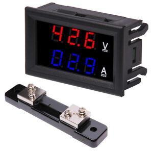 Voltmeter-100V-Amperemeter-50A-LED-Digital-Spannung-Strom-Panel-Rot-Blau-Shunt