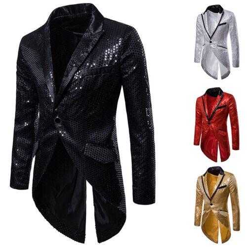 1 sur 12Livraison gratuite Hommes Smoking Queue Vestes Manteau Paillettes  Club Danse Blazer Banquet 89a786ca260