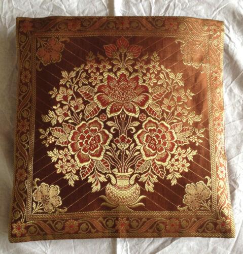 "Cushion cover Indian Banarasi Brocade work synthetic silk Elegant Ethnic 12/""X12/"""