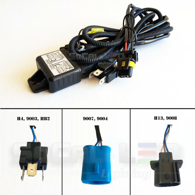 Set of 12V 35W/55W HID Hi/Lo H/L Bi-Xenon Relay Harness Wiring Controller w/Fuse