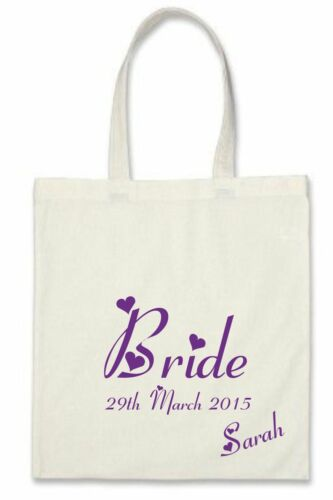 Personalised Wedding Bridal Robe Gown in PURPLE Satin Bride Mother Gift Bag