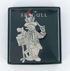 Seagull-Pewter-Musical-Snowman-Christmas-Tree-Ornament-Holiday-Gift-Boxed-New