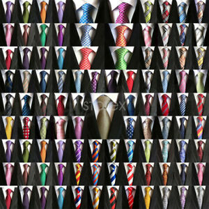 New-Mens-Classic-100-Silk-Tie-Necktie-Striped-White-Black-JACQUARD-Neck-Ties