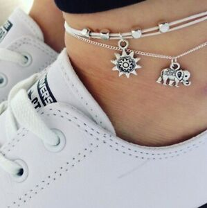 Ladies-Women-Ankle-Bracelet-Silver-Anklet-Foot-Chain-Elephant-Sun-Charm-White