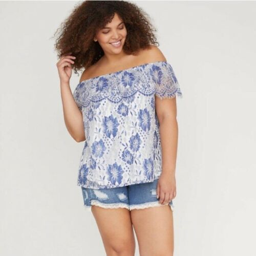 Lane Bryant Lace Cami Blouse Top Womens Plus Size Ruffle Lace Blue White Floral