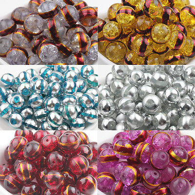 Stylish Transparent  Silver&Golden Plated Round Glass Spacer Loose Beads DIY