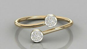0-10ct-Natural-Diamond-Two-Cluster-Stackable-Wedding-Band-9kt-Solid-Gold