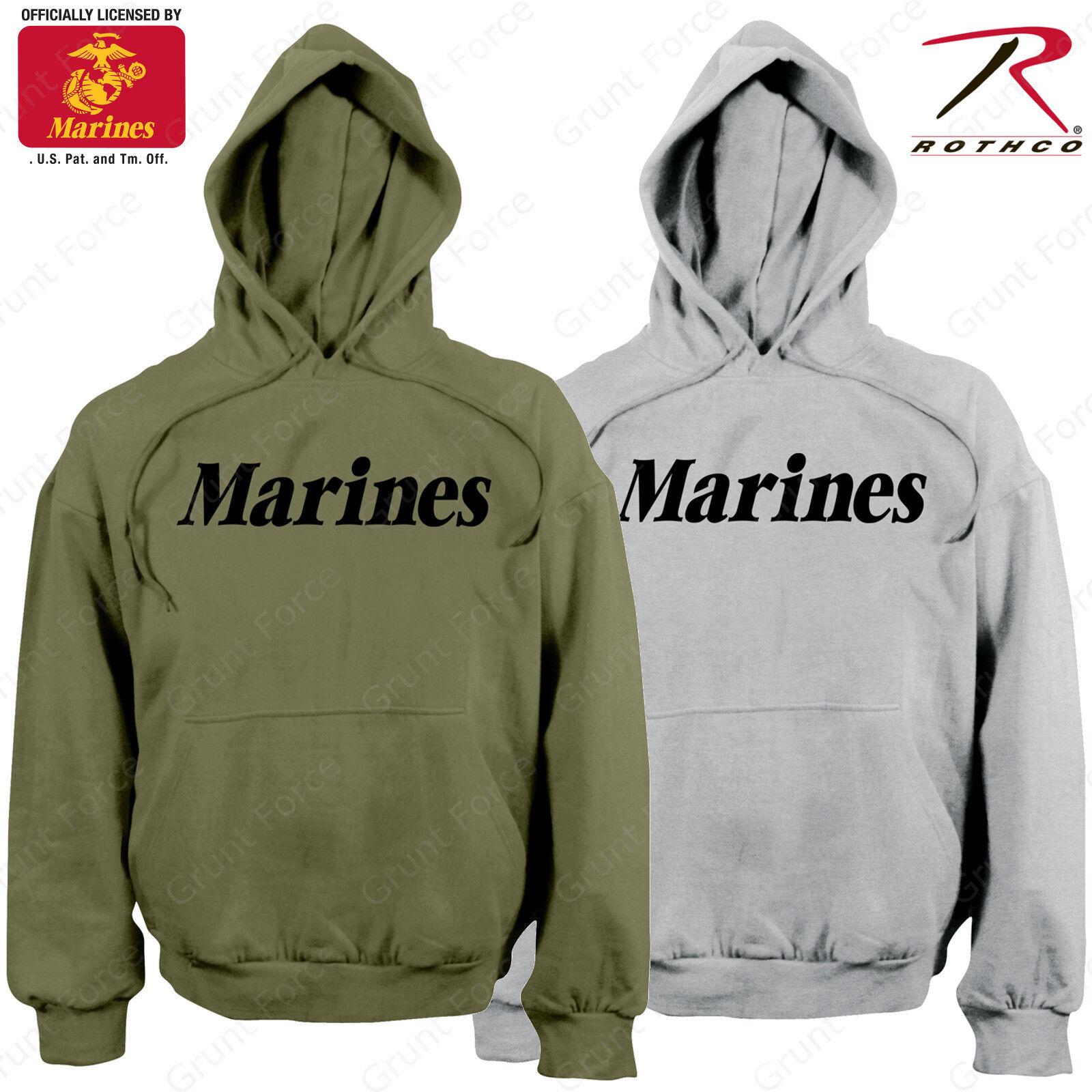 Herren Marines Pullover Hoodie Sweatshirt - Rothco OD or Grau PT Hooded Sweatshirt