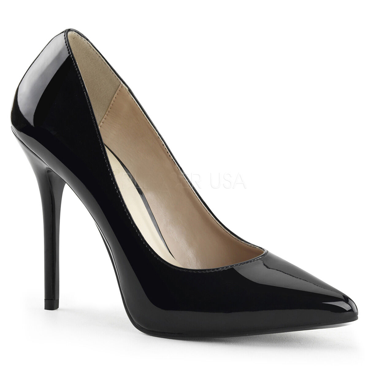Elegante Pleaser Damen High-Heels Pumps Amuse-20 schwarz Lack Übergrößen 35-47