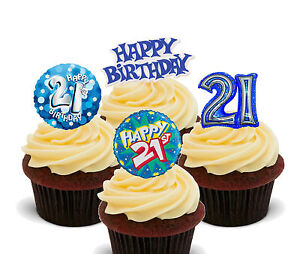 Image Is Loading 21st Birthday Boy Edible Cupcake Toppers Stand Up