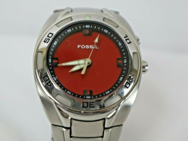 FOSSIL BIG TIC AM-3847 stainless stell, rotating bezel 165ft water resistant