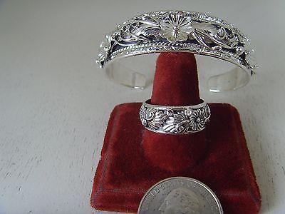 Floral  Silver Bracelet & Ring Set .925 Sterling Silver By Navajo Silversmith