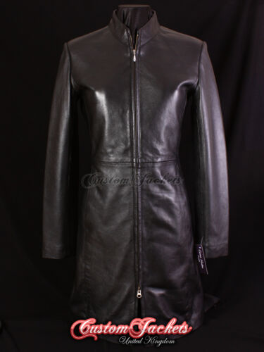 Jacket Stylish Victoria Black Ladies Soft Long Fitted Slim Leather Real Sexy WvIWq1