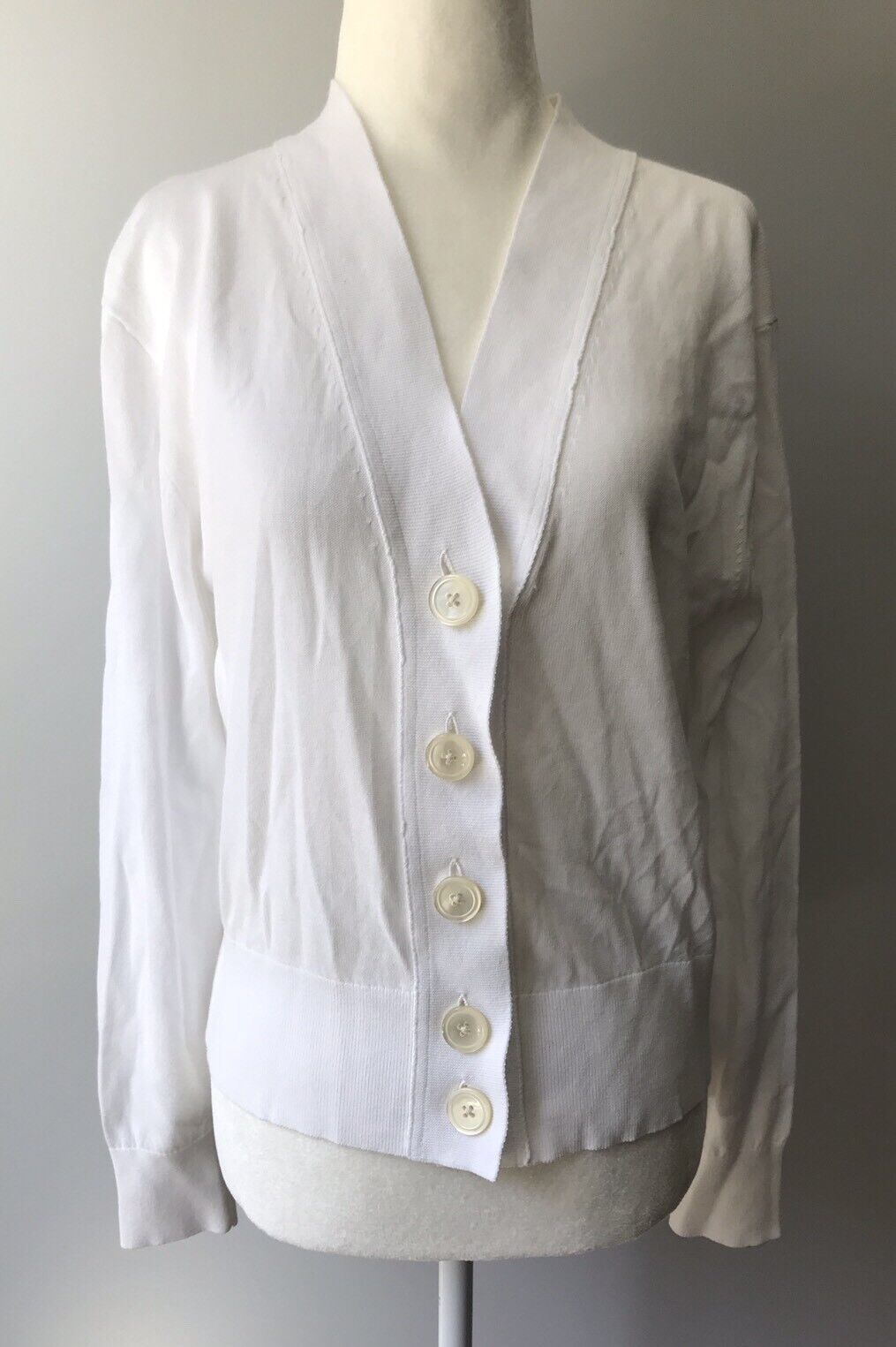 NEW J. CREW CROPPED LIGHTWEIGHT CARDIGAN SWEATER IN WHITE SZ M G5905