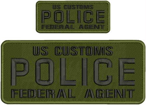 US CUSTOM POLICE FEDERAL AGENT EMB 4X10/&2X5 HOOK ON BACK OD//BLK