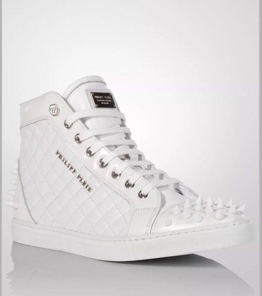 985 Philipp Plein Sugar Hi-Top Hi-Top Hi-Top scarpe da ginnastica spike bianca Dimensione US8  floor model 811a22