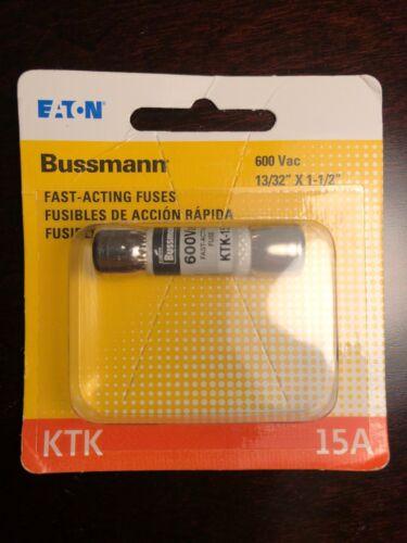 15 Amp Limitron Fast Acting Supplementary Fuse 600V Bussmann KTK-15 KTK-15