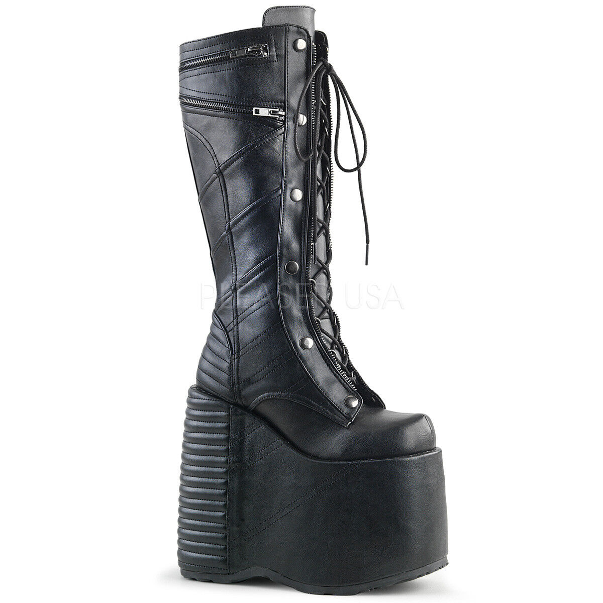 Demonia SLAY-320 Womens Sexy Black Vegan Leather Platform Lace-Up Knee High Boot