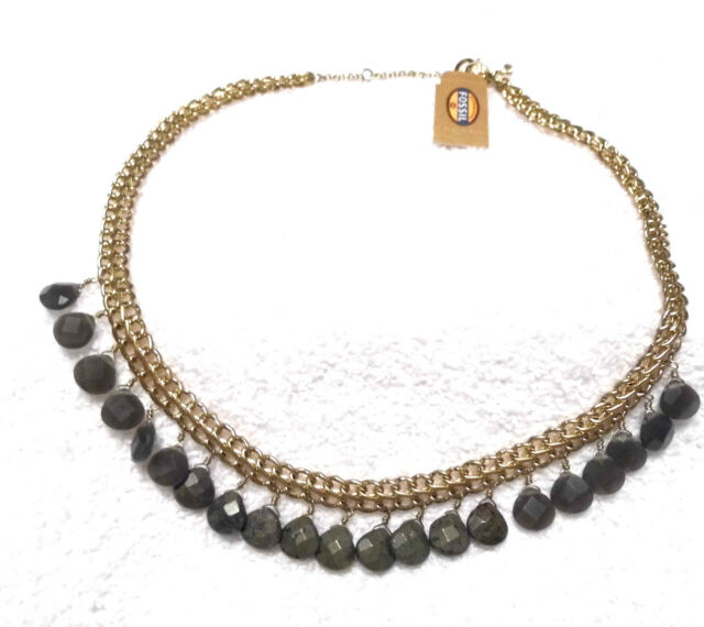 Fossil Gold and Silver Stone Necklace