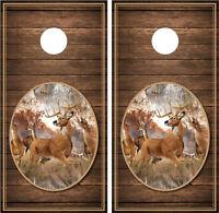Whitetail Buck 1 Brown Wood Background Cornhole Board Decal Wrap Wraps
