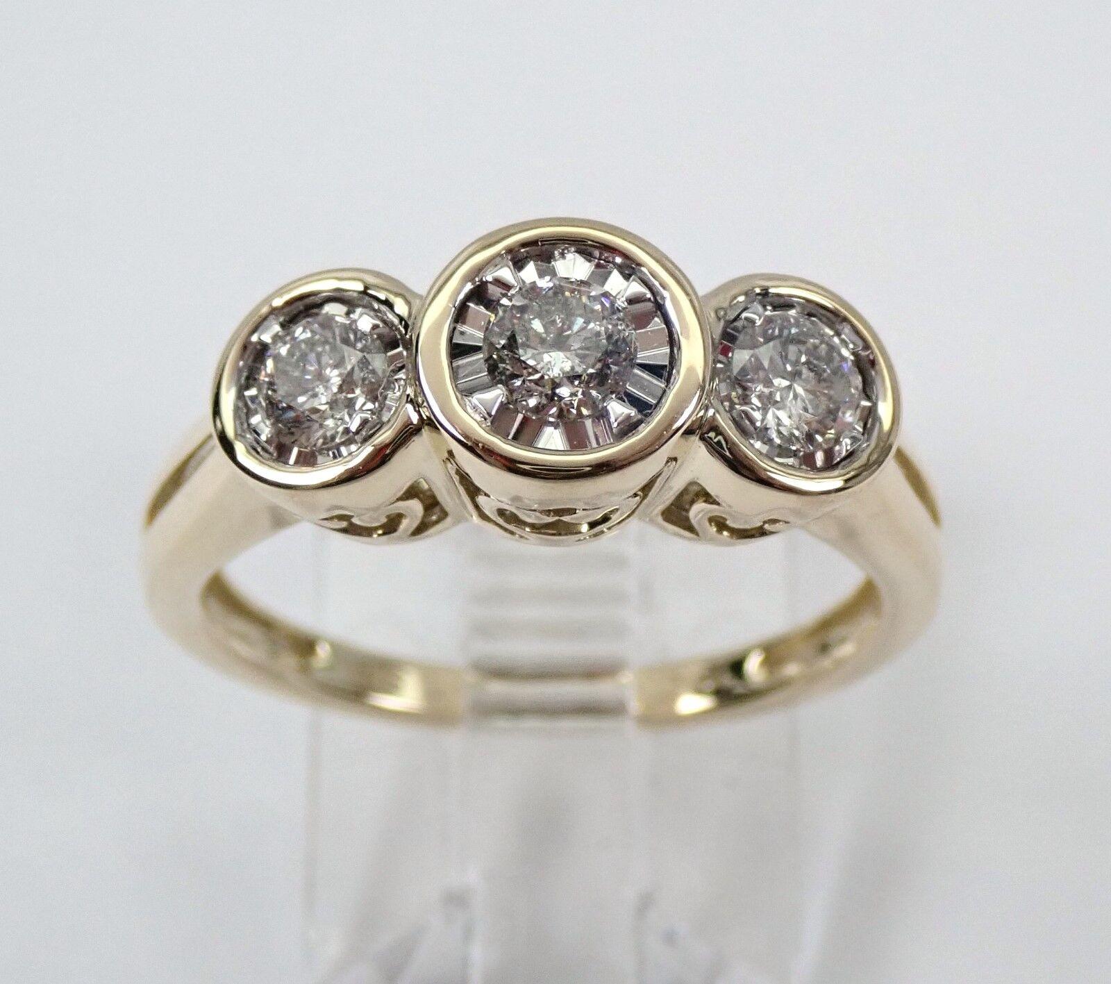 Yellow gold 3-Stone Diamond Engagement Ring Bezel Set Size 7 Past Present Future