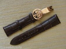 22mm Brown Leather Strap W/Rose Gold Deployment Buckle For/Fit PP Watch