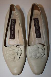 Gozzi Italiebordure 38 5 8 fleurs Escarpins Alberto Vintage cuir 7 à en beiges Pknw80O