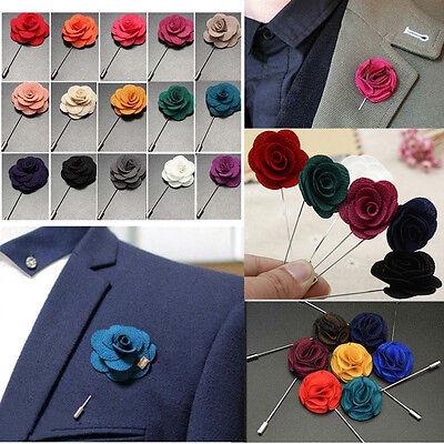 67b75e13c8c6d Handmade Rose Flower Boutonniere Brooch Lapel Pin Accessories For Men's Suit