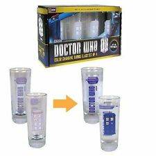 DOCTOR WHO TARDIS COLOUR CHANGING 2OZ SHOT GLASS SET OF 4 BRAND NEW