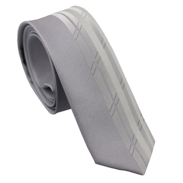 Coachella Ties Unique Design Gray with Silver Stripe Necktie Woven Skinny Tie